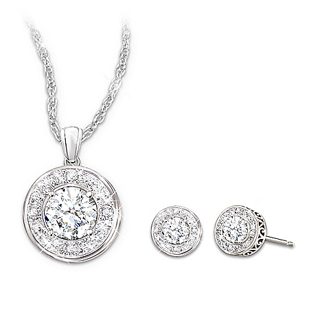 Necklace And Earrings With 5 Carats of Crystals