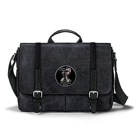 Home Of The Free Canvas Messenger Bag With Applique Patch