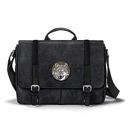 Men's Canvas Messenger Bag With Wolf Applique Patch