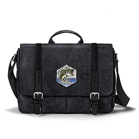 I'd Rather Be Fishing Men's Canvas Messenger Bag