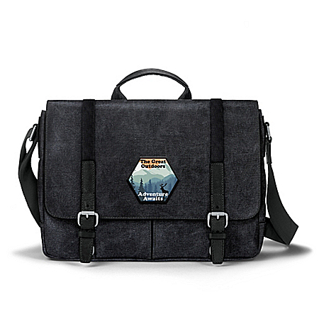 Great Outdoors Men's Black Washed Canvas Messenger Bag