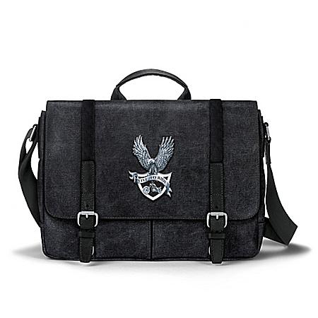 Live To Ride Men's Black Washed Canvas Messenger Bag