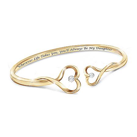 Always My Daughter Engraved Diamond Bangle Bracelet