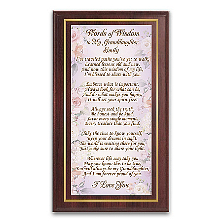 Words Of Wisdom Wall Plaque Personalized For Granddaughters