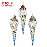 Rudolph The Red-Nosed Reindeer Icicle Treasures Christmas Tree Ornaments: Set One