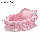 Wicker Bassinet With Pink Liner/Pillow