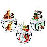 Purrfect Holiday Sleigh Bells Cat-Themed Christmas Ornaments: Set One