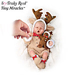 Tiny Miracles Ringle Deer Miniature Lifelike Baby Doll In Reindeer Outfit