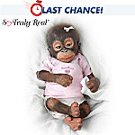 Fall in love with Little Umi, a collectible orangutan baby doll you have to see to believe, and the first-ever So Truly Real® baby monkey doll! Beautifully crafted, her head and limbs are of collector-quality silicone that recreate every realistic detail of her face, hands and feet. Hand-applied wispy red hair covers her from head to toe. Offer Little Umi her FREE pacifier and watch as she gazes up at you with gentle, trusting eyes.This irresistible collectible monkey doll by renowned doll artist Wendy Dickison is available exclusively from The Ashton-Drake Galleries. Best of all, a portion of the proceeds from your purchase of Little Umi will be donated to support rainforest preservation! Don't wait to let your love for Little Umi nurture the miracle of birth and life across our beautiful world. Strong demand is expected, so order now!