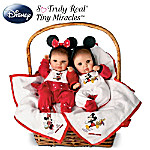 Disney Mickey And Minnie Themed Tiny Miracles Baby Dolls Set: Basket Of Hugs