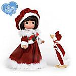 Precious Moments Brunette Goose Girl Vinyl Doll Wearing Santa-Inspired Dress