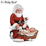 "In one of the most touching images to define the true meaning of Christmas, Santa Claus, the bringer of gifts, kneels humbly before The Greatest Gift of All, the newborn Christ Child in His manger.  This So Truly Real® kneeling Santa and Jesus doll set is an exclusive from The Ashton-Drake Galleries, created by Master Doll Artist Cheryl Hill with the amazing realism and powerful emotion this important subject demands.The lifelike and expressive sculpting of both dolls are brought to life in hand-painted RealTouch™ vinyl, which recreates the look and feel of natural skin. Santa is impressively sized at 20 inches tall and wears his traditional outfit, tailored in luxurious red velvet with downy white trim. His rosy cheeks, wooly white beard and expression of awe as he honors The Newborn King will touch your heart. The sleeping Baby Jesus is wonderfully detailed as a precious newborn, wrapped in swaddling clothes and laid in a basket-woven manger filled with realistic-looking ""hay"" to remind us of the humble circumstances of His birth. This kneeling Santa with Baby Jesus doll set is destined to delight your family and friends for many years to come, and strong demand is expected. Don't wait; order now!"