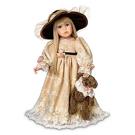 Linda Rick - Catherine, Victorian-Style Child Doll With Dressed Teddy Bear