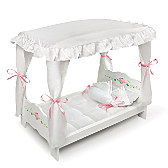 White Rose Canopy Bed Doll Accessory