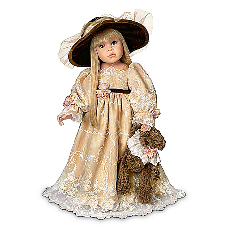 "Collectible Teddy Bears Linda Rick ""Catherine"" Victorian-Style Child Doll With Dressed Teddy Bear"
