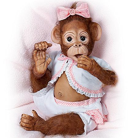 Monkey Doll: Cute As A Button So Truly Real Vinyl Monkey Doll
