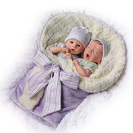 Donna Lee Addison And Aiden Poseable Twin Baby Doll Set