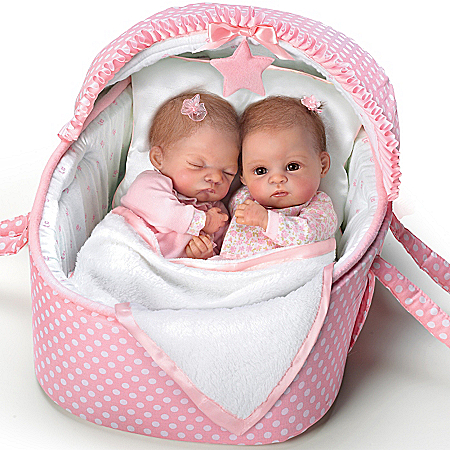 Waltraud Hanl Lifelike Lullaby Twins Baby Girl Doll Set Featuring Heather And Hannah