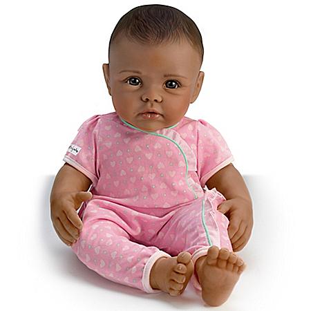 So Truly Mine Lifelike Baby Doll: Black Hair, Brown Eyes, Dark Skin