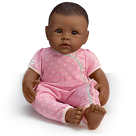 So Truly Mine Baby Doll: Black Hair, Brown Eyes, African-American With Pink Outfit