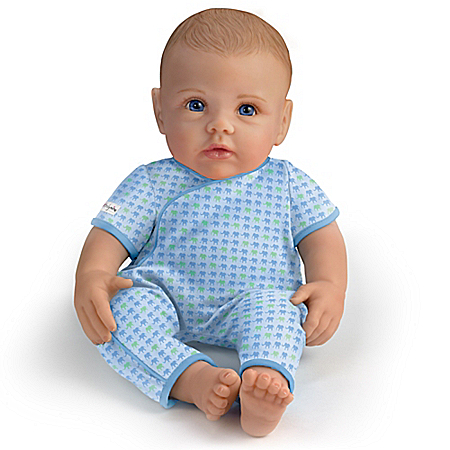 Ashton Drake So Truly Mine Baby Boy Doll for Kids: Light Brown Hair Blue Eyes