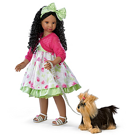 Kayla's Sunday Stroll Poseable Lifelike Child Girl Doll With Yorkie Plush