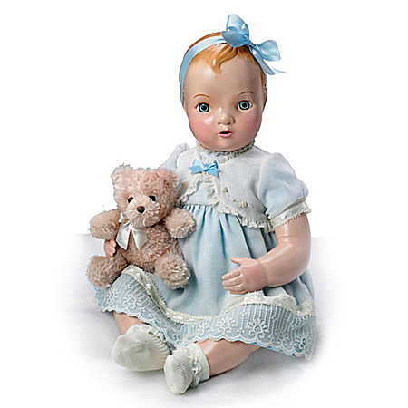 Mary Hand-Painted Vintage-Looking Vinyl Baby Doll