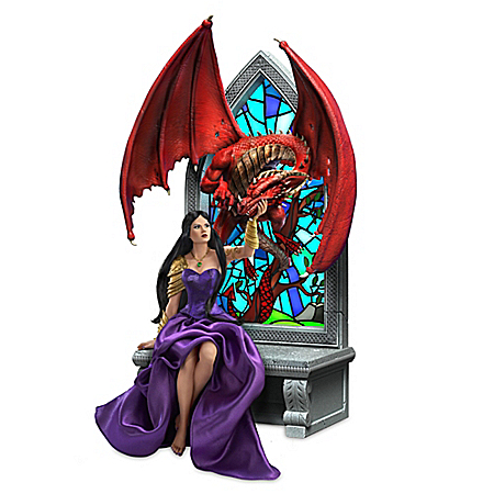 Beauty And The Beast Illuminated Dragon Sculpture With Fabric Accents