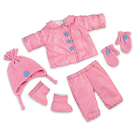Snow Adorable Pink Baby Doll Accessory Set With Hat And Mittens