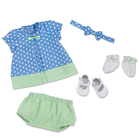 Tea Time Blue Polka Dot Dress Baby Doll Accessory Set