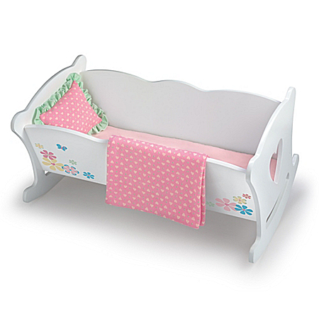 Rocking Cradle Baby Doll Accessory Set With Pillow And Blanket