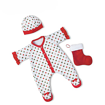 So Truly Mine Holiday Print Pajamas Baby Doll Accessory Set