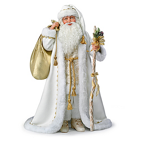 White Christmas Santa Portrait Doll With Music And Lights