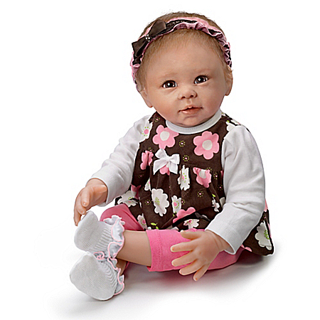 Linda Murray Sweet Brown-Eyed Girl Lifelike Poseable Baby Doll