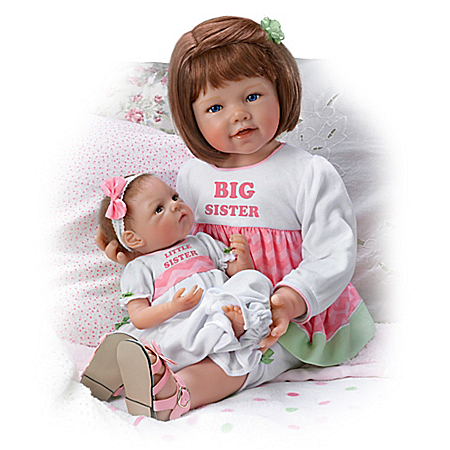A Sister's Love Child And Baby Poseable Vinyl Doll Set