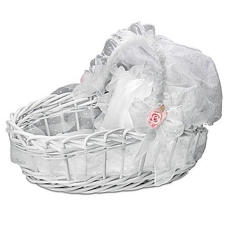 Sweet Slumber White Wicker Basket Baby Doll Accessory
