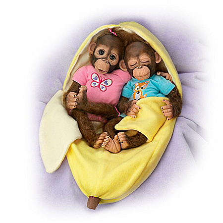 Cindy Sales Frankie And Fiona Vinyl Monkey Doll Set
