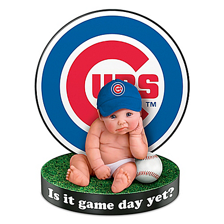Chicago Cubs Is It Game Day Yet? Baby Doll With Display Base