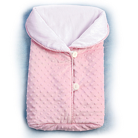 Reversible Pink Fleece Bunting Bag Baby Doll Accessory