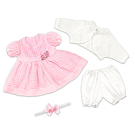 Gingham Print Pink Party Dress Baby Doll Accessory Set