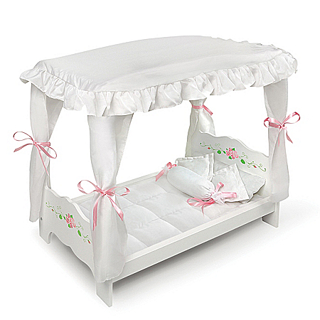 White Rose Canopy Bed With Bedding Doll Accessory