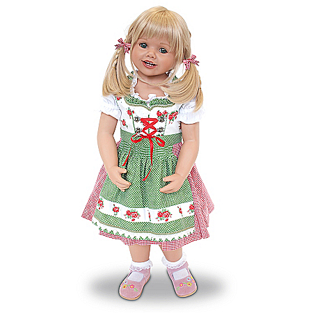 Louisa Lifelike Child Doll Wearing An Authentic Bavarian Costume
