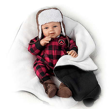 Sherry Rawn Lifelike Weighted RealTouch Vinyl Baby Boy Doll: Happy Camper