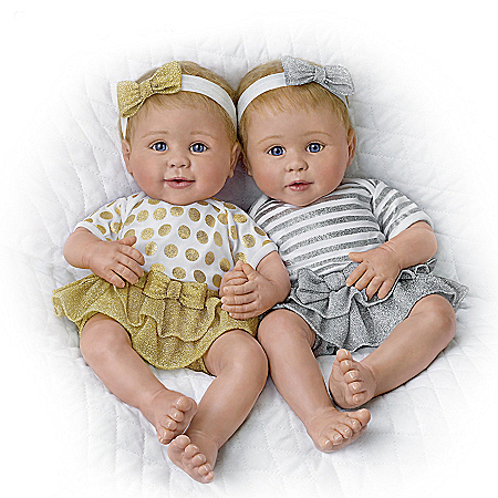 Linda Murray Silver And Gold Twins Baby Doll Set