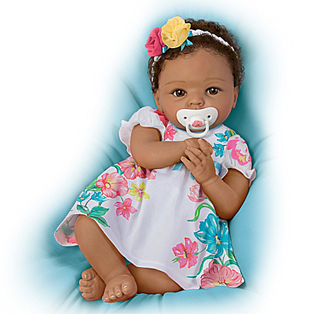 Cheryl Hill Lifelike Weighted Silicone Baby Doll with Rooted Hair: Ashton-Drake