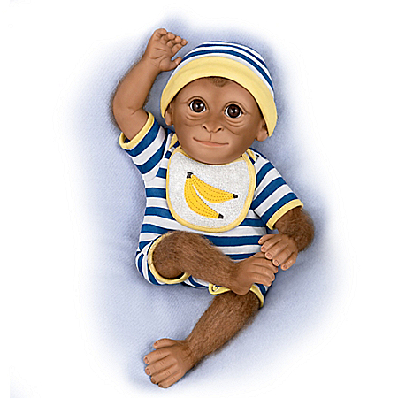 So Truly Real Kirby Monkey Baby Doll With Hand-Applied Mohair