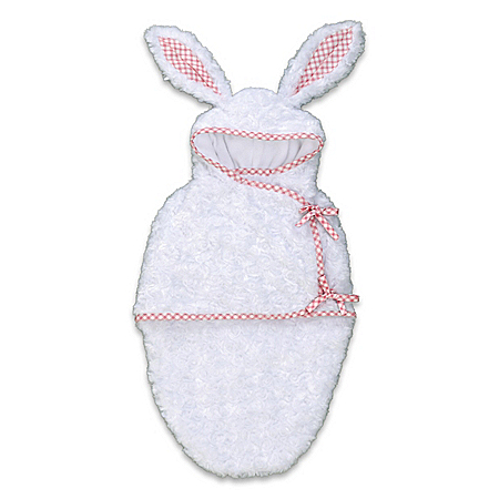 White Bunny Fleece Bunting Baby Doll Accessory With Hoodie