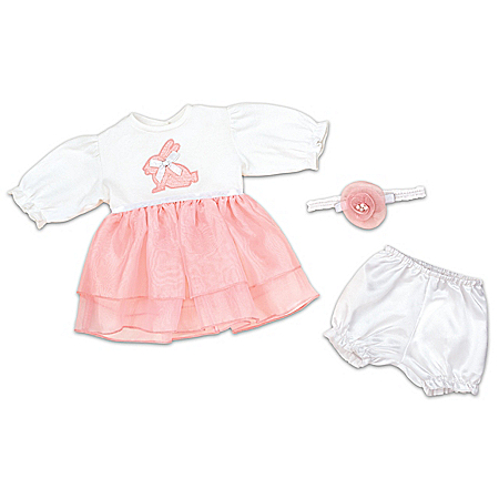 Hopping Into Spring Baby Doll Accessory Set With Embroidered Bunny