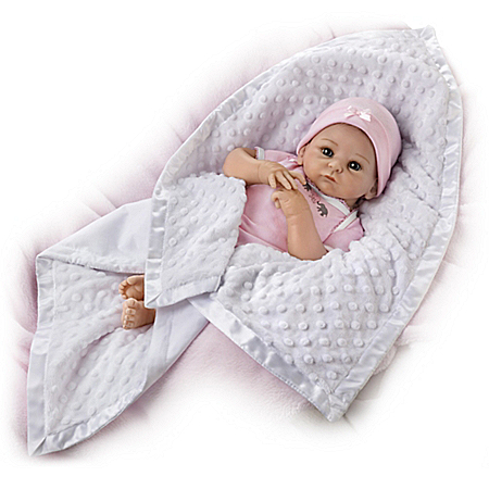 White Minky Blanket With Satin Trim Baby Doll Accessory
