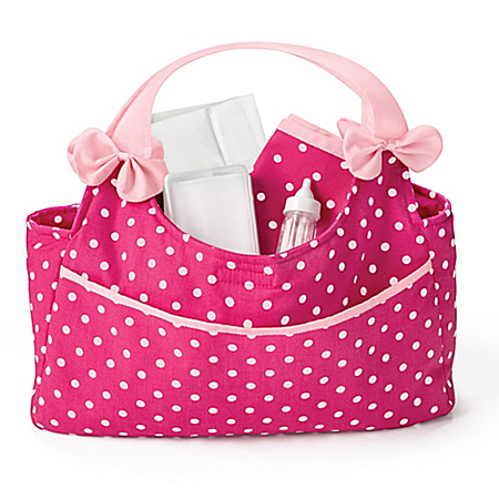Polka Dot Diaper Bag And Matching Accessories Set